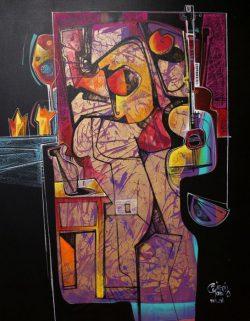 """"""" Cancion del  Silencio """" Acrylschilderij van Simeon Gonzales (Peru) 150 cm x 120 cm , gesigneerd aan de voorzijde + certificaat van echtheid 2019, met 2 stickers en code.Het schilderij kan op aanvraag opgespannen worden op een stevig houten spielatten frame , of opgerold worden verzonden. Uiteraard kan het eerst bezichtigd worden in Terneuzen, van harte welkom! Telefoon: 0115 620556 , 06-31957298 op afspraak op een dag en tijd die u het beste uitkomt. € 835,-"""