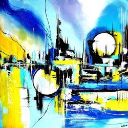 """ Abstract World "" Acrylschilderij van Larissa Chupakhina , 80 cm x 80 cm , € 269,"