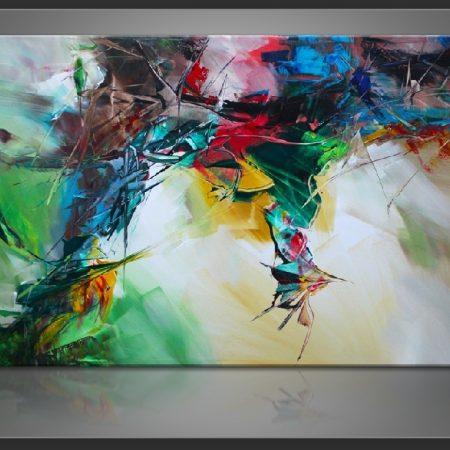 """"""" Abstract Shapes """" is een prachtig handgeschilderd Acrylschilderij van Gia Hung, het is compleet gespannen op frame, klaar om op te hangen, afmeting 120 cm x 80 cm x 2,5 cm. € 289,00"""