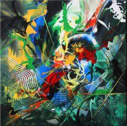 """"""" Desolation"""" Acrylschilderij van Gia Hung, opgespannen op frame, 80 cm x 80 cm.  € 235,00"""