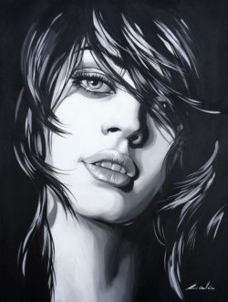 """"""" J'adore """" is een origineel hand geschilderd mixed media schilderij op een Artist canvaspanel van Galya Bukova (Bulgarije) 40 cm x 30 .Varnished with UV finish. € 189,00"""