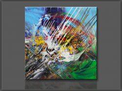 """"""" Joy """" is een prachtig handgeschilderd Acrylschilderij van Gia Hung, het is compleet gespannen op frame, klaar om op te hangen, afmeting 80 cm x 80 cm. € 189,00"""