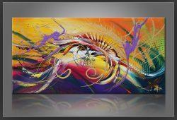 """"""" Magix """" is een prachtig handgeschilderd Acrylschilderij van Gia Hung, het is compleet gespannen op frame, klaar om op te hangen, afmeting 120 cm x 60 cm. € 189,00"""