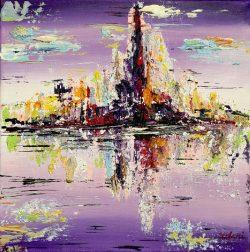 """""""Violet City """" is een Acrylschilderij van L. Chupakhina uit Neubulach Duitsland, het schilderij is acrylverf verwerkt met zand, tevens is het werkje voorzien van een beschermende vernislaag, de zijkanten zijn meegeschilderd, afmeting 40 cm x 40 cm. € 189,00"""