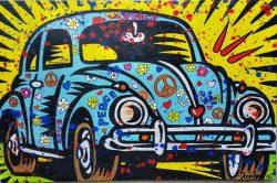 Artist: MoontjeTitle: Hippie KeverMedium: Acryl on canvasOpgespannen op een Classic 65 mm spielatten frame van hoge kwaliteitSize: 115 cm x 75 cm . € 235,00