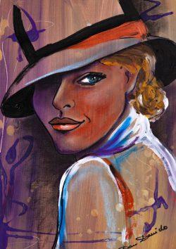 """""""What do you think about """" Bijzonder exclusief schilderijtje van Dam Domido (Frankrijk) het is een mixed media schilderijtje op papier bevestigd op cardboard , het is uit het jaar 2013 en de afmeting is 40 cm x 30 cm . Certificaat van echtheid is op de achterzijde. € 189,00"""