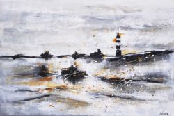 """"""" Storm """" Acrylschilderij op Canvasdoek van Suzanne Visser, 120 cm x 80 cm . € 289,-Beeldend kunstenaar Suzanne Visser, werd op 23 maart 1972 geboren in Oostburg. Na haar opleiding aan academie St. Maria in Antwerpen (modeontwerpen en illustreren) te hebben afgerond, vervolgde zij haar studie aan Kunstacademie St. Joost in Breda. In 1996 studeerde ze af, in de richting illustreren. Hierna werkte ze o.a. als illustrator en grafisch ontwerper. Na verloop van tijd maakte het illustreren plaats voor het schilderen op doek, mede door de vele positieve reacties. Zij heeft op verschillende locaties haar veelzijdige kunstwerken mogen exposeren.Door het werk heen is een duidelijke evolutie zichtbaar. De schilderijen krijgen een steeds grotere mythische, bijna spirituele diepgang. Wie lang naar een van haar doeken kijkt, ontdekt steeds weer nieuwe details en verborgen boodschappen. Soms is haar werk ingetogen en bezinnend, dan weer uitbundig en humoristisch. Sommige schilderijen ogen traditioneler en andere zijn weer ware krachtexplosies."""
