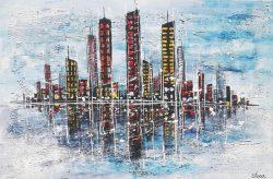 """"""" Skyline """" Acrylschilderij op Canvasdoek van Suzanne Visser, 120 cm x 80 cm . € 289,-Beeldend kunstenaar Suzanne Visser, werd op 23 maart 1972 geboren in Oostburg. Na haar opleiding aan academie St. Maria in Antwerpen (modeontwerpen en illustreren) te hebben afgerond, vervolgde zij haar studie aan Kunstacademie St. Joost in Breda. In 1996 studeerde ze af, in de richting illustreren. Hierna werkte ze o.a. als illustrator en grafisch ontwerper. Na verloop van tijd maakte het illustreren plaats voor het schilderen op doek, mede door de vele positieve reacties. Zij heeft op verschillende locaties haar veelzijdige kunstwerken mogen exposeren.Door het werk heen is een duidelijke evolutie zichtbaar. De schilderijen krijgen een steeds grotere mythische, bijna spirituele diepgang. Wie lang naar een van haar doeken kijkt, ontdekt steeds weer nieuwe details en verborgen boodschappen. Soms is haar werk ingetogen en bezinnend, dan weer uitbundig en humoristisch. Sommige schilderijen ogen traditioneler en andere zijn weer ware krachtexplosies.Beeldend kunstenaar Suzanne Visser, werd op 23 maart 1972 geboren in Oostburg. Na haar opleiding aan academie St. Maria in Antwerpen (modeontwerpen en illustreren) te hebben afgerond, vervolgde zij haar studie aan Kunstacademie St. Joost in Breda. In 1996 studeerde ze af, in de richting illustreren. Hierna werkte ze o.a. als illustrator en grafisch ontwerper. Na verloop van tijd maakte het illustreren plaats voor het schilderen op doek, mede door de vele positieve reacties. Zij heeft op verschillende locaties haar veelzijdige kunstwerken mogen exposeren.Door het werk heen is een duidelijke evolutie zichtbaar. De schilderijen krijgen een steeds grotere mythische, bijna spirituele diepgang. Wie lang naar een van haar doeken kijkt, ontdekt steeds weer nieuwe details en verborgen boodschappen. Soms is haar werk ingetogen en bezinnend, dan weer uitbundig en humoristisch. Sommige schilderijen ogen traditioneler en andere zijn weer ware krachtexpl"""