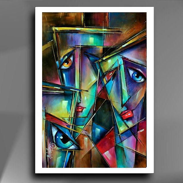 """"""" FACES """" Prachtige Giclee op hoogwaardig papier, afmeting 48 cm x 33 cm , deze giclee kunt u zelf inlijsten geheel naar uw eigen keuze wat kleur  betreft die bij uw interieur past, € 69,-"""