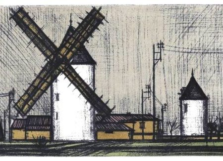 """ Windmills ,1967 "" Bernard Buffet Color Offset Litho , met certificaat ,totale afmeting 35 cm x 27 cm.   € 89,-   …………. From the exquisite master printer Fernand Mourlot's collection of lithographs by artist Bernard Buffet; lithograph Plate No. 3 was published for Mourlot's Bernard Buffet: Lithographs, 1952-1966, Tudor, 1967. Executed in the same number of colors as the original; plates 1 thru 15 were originally printed by M. Durassier, Paris; all others were pulled by Mourlot, Paris. Issued in November, 1967 on velin Acropole manufactured by Papeteries de Renage."