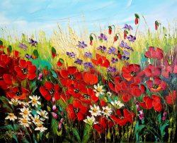 """"""" Flowers in the Meadow """"Prachtig Olieverfschilderij van Urszula Lemańska , Certificaat van echtheid is aanwezig afmeting 50 cm x 40 cm x 2 cm. € 189,-"""