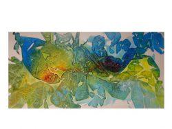 """"""" Leaf """" Acrylschilderij van Gia Hung, het is compleet gespannen op frame, klaar om op te hangen, afmeting 80 cm x 40 cm. € 169,00"""