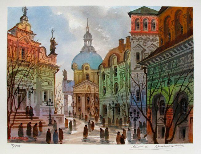 """"""" Streets of Old Rome"""" Hand gesigneerde Litho van  Anatole Krasnyansky met certificaat van echtheid , nummer 247 /950 ,totale afmeting 25 cm x 35 cm.   € 89,-Deze Litho kan altijd vrijblijvend bezichtigd worden in TERNEUZEN ,Telefoon: 0115 620556 , 06-31957298 op afspraak op een dag en tijd die u het beste uitkomt. Verzenden per pakketpost is ook mogelijk door geheel Nederland en België."""