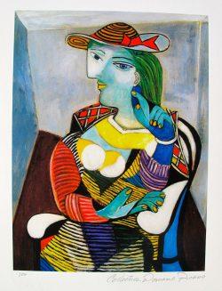 """Pablo Picasso Litho/Giclee + COA - Signed Estate Collection Domaine Picasso """" Marie Therese Walter """" Prachtige Giclee in een oplage van 500 stuks (I 134/500) van het origineel uit 1932 met een zegel stempel van de Domaine Picasso in het dik archival papier, met certificaat van echtheid,afmeting afbeelding 36 cm x 26 cm , totale afmeting 52 cm x 33 cm. € 89,-"""