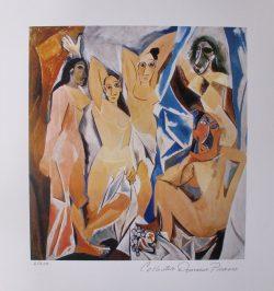 """Pablo Picasso Litho/Giclee + COA - Signed Estate Collection Domaine Picasso \"""" Les Demoiselles d\'Avignon \"""" Prachtige Giclee in een oplage van 500 stuks (241/500) van het origineel uit 1954 met een zegel stempel van de Domaine Picasso in het dik archival papier, met certificaat van echtheid,afmeting afbeelding 28 cm x 26 cm , totale afmeting 52 cm x 33 cm. € 89,-"""
