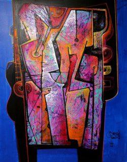 """"""" Vestida en Rosa Andino """" Acrylschilderij van Simeon Gonzales (Peru) 150 cm x 120 cm , gesigneerd aan de voorzijde + certificaat van echtheid 2019, met 2 stickers en code.Het schilderij is compleet opgespannen  op een stevig professioneel houten spieraam .Uiteraard kan het altijd eerst bezichtigd worden in Terneuzen, van harte welkom! Telefoon: 0115 620556 , 06-31957298 op afspraak op een dag en tijd die u het beste uitkomt. Vraagprijs € 775,-"""