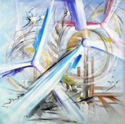 """"""" Hijos del Viento """" wat vertaald betekent """" Children of the Wind """" is een prachtig Acrylschilderij uit 2010 van Oleg Shovkunenko geboren in 1986 (artiestennaam Oleg Shovk) , Oleg is een hedendaagse kunstenaar uit de Oekraïne. Werk van Oleg Shovk is te vinden in museums and privé collecties in Spanje, Frankrijk, USA, Romenië, Israel, Oekraïne en Rusland ,hij is lid van de GOYA-ARAGON Association of Plastic Artists. Het werk is compleet gespannen op een spieraam , klaar om op te hangen , afmeting 105 cm x 105 cm , certificaat van echtheid is aanwezig. € 549,-"""