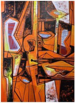 """"""" Abstracto en Naranja"""" Acrylschilderij van Simeon Gonzales (Peru) 100 cm x 75 cm , gesigneerd aan de voorzijde + certificaat van echtheid 2021, met 2 stickers en code.Het schilderij is compleet opgespannen op een stevig professioneel houten spieraam .Uiteraard kan het altijd eerst bezichtigd worden in Terneuzen, van harte welkom! Telefoon: 0115 620556 , 06-31957298 op afspraak op een dag en tijd die u het beste uitkomt. Vraagprijs € 595,-"""